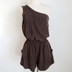 Joie Silky Brown One-Shoulder Pleated Romper